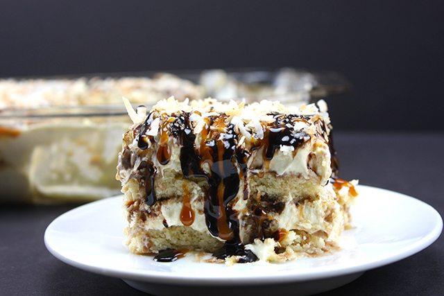No-Bake Samoa Cake