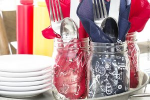 Patriotic Table Decor using Bandanas