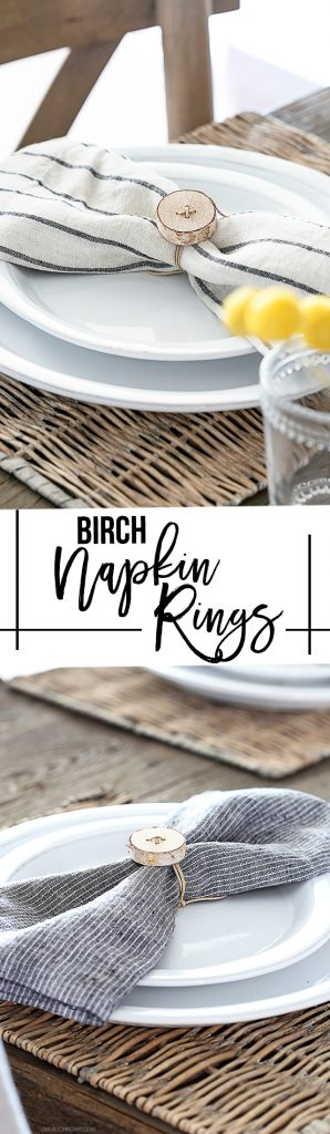 These DIY Rustic Birch Napkin RIngs are perfect for simplistic entertaining. A project you can whip up in 10-15 minutes. livelaughrowe.com