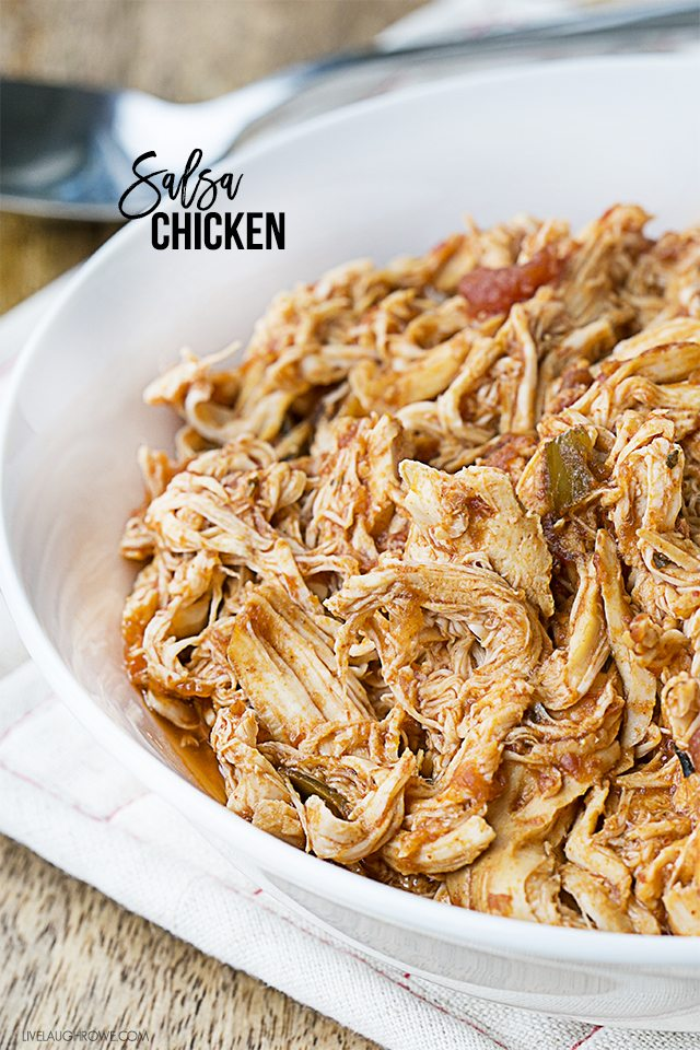 This 3-Ingredient Slow Cooker Salsa Chicken is not only easy to make, it's delicious on salads, sandwiches, tacos, wraps and more. Recipe at livelaughrowe.com