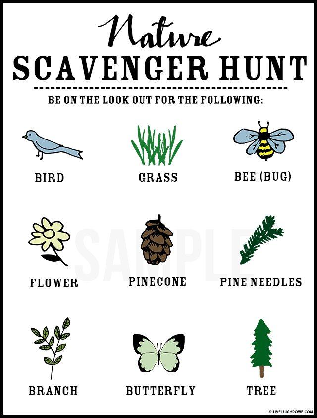 Fantastic nature themed Scavenger Hunt for kids! Grab some snacks and let's get started. livelaughrowe.com