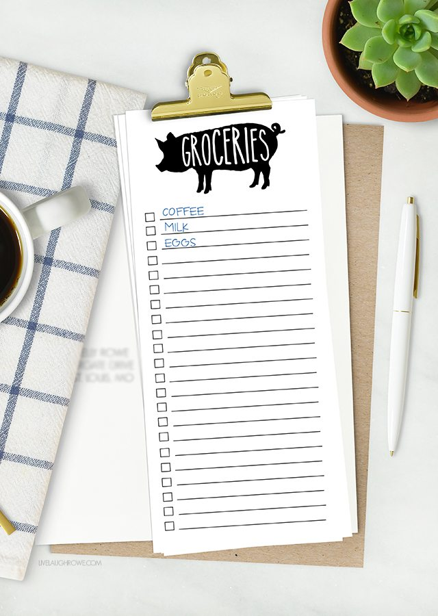 Sometimes lists are my only saving grace! This printable grocery list isn't only cute, but it's a lifesaver too. There's a printable to-do list too. Grab yours at livelaughrowe.com