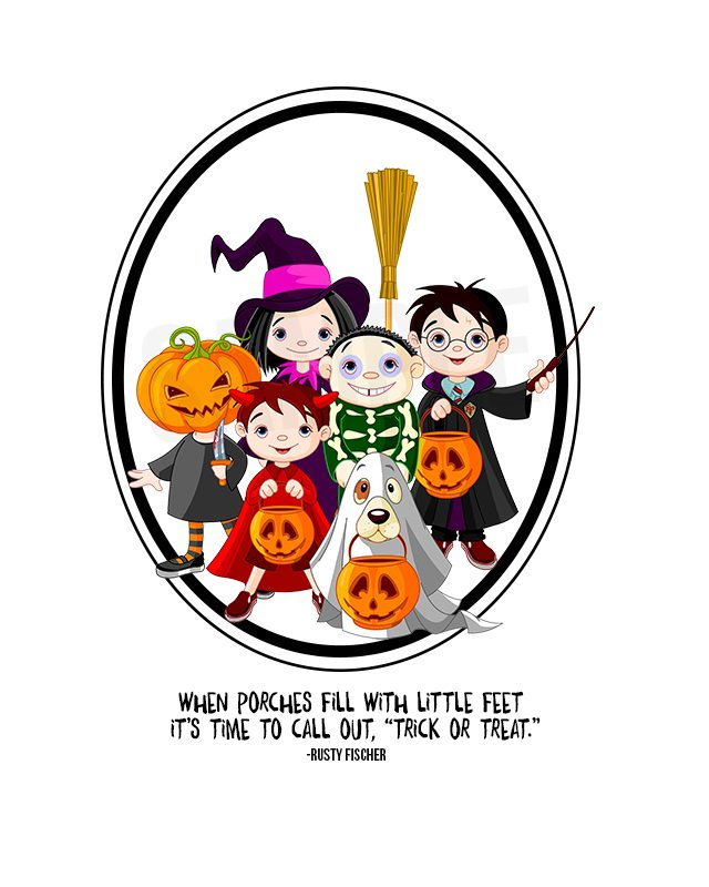 Adorable Trick or Treat Halloween Printable -- look at those darling trick or treaters! livelaughrowe.com