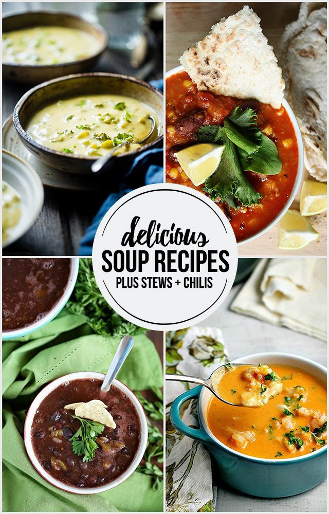 Delicious soup recipes to add to your menu as the cooler temps roll in. I snuck in some chili and stew recipes too. livelaughrowe.com