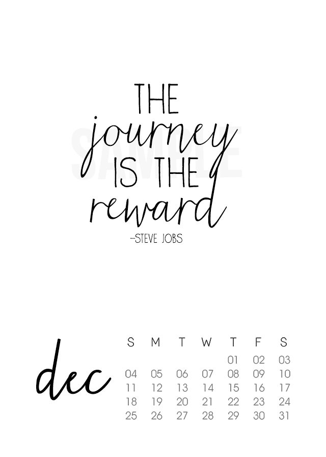 Printable 2016 December Calendar with Inspirational Quote