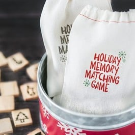 A fun Holiday Memory Matching Game using festive wooden scrabble tiles! Great stocking stuffer idea for the kids. livelaughrowe.com