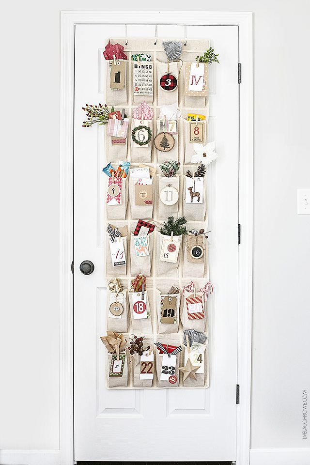 Adorable Woodland Inspired Advent Calendar using an over-the-door organizer. livelaughrowe.com