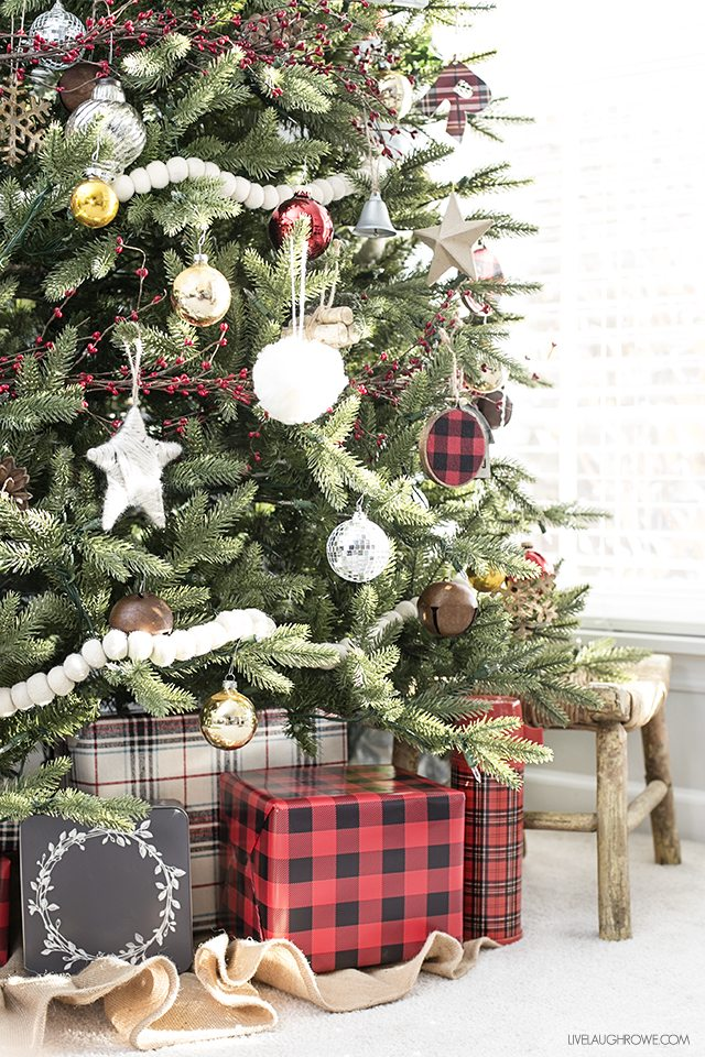 rustic-christmas-tree-buffalo-check-wrapped-gifts-live-laugh-rowe