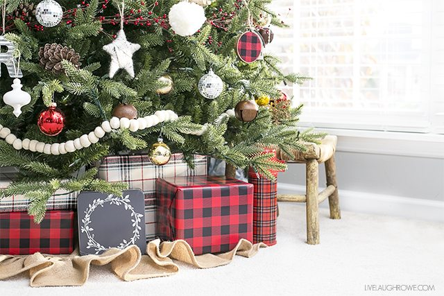 rustic christmas tree with splashes of glam and plaid