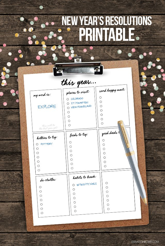 FREE New Year's Resolutions Printable -- with lots of lists! Let's make this our best year yet... livelaughrowe.com