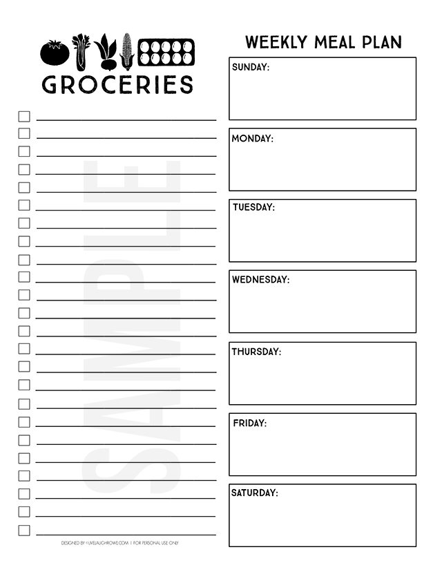 Printable Menu Planner And Online Grocery Pickup  Live Laugh Rowe