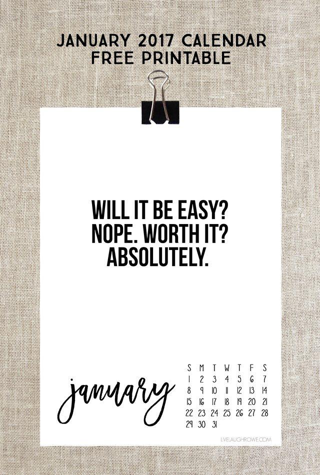 Calendar Inspirational Quotes : January calendar free printable live laugh rowe