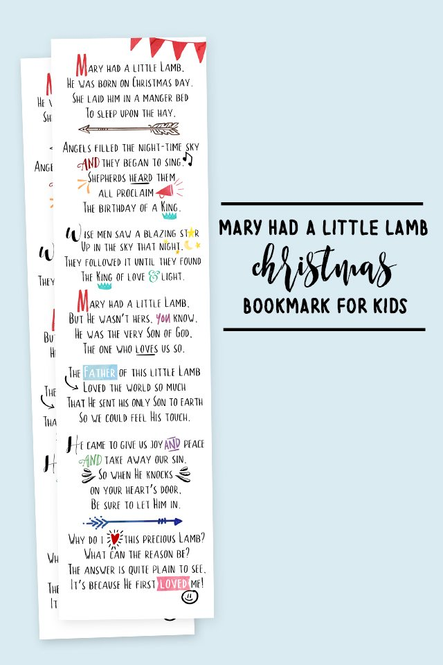 Darling Mary Had a Little Lamb Printable Bookmarks for Kids! The perfect addition for the books your gifting to the kids in your life. livelaughrowe.com