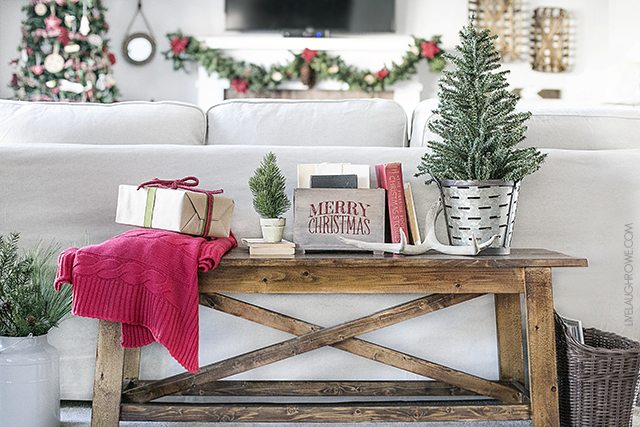A lovely warm and cozy Christmas living room -- it's the most wonderful time of the year! Stop by for inspiration. livelaughrowe.com