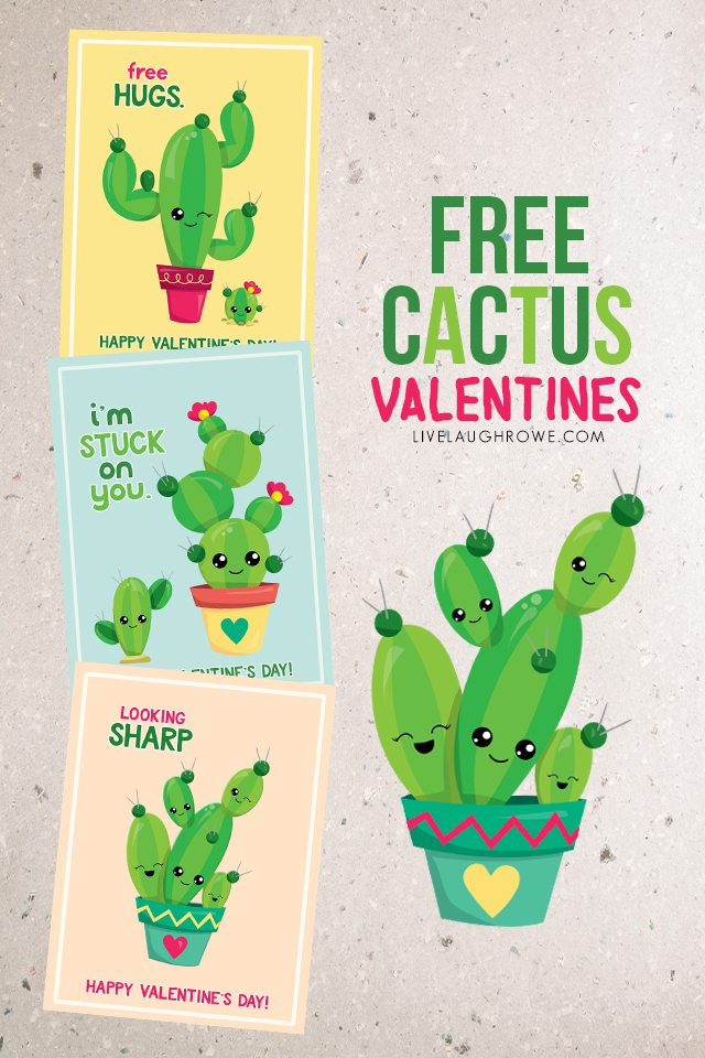 I'm stuck on you, friend! One of three fun (and free) printable cactus valentines. livelaughrowe.com