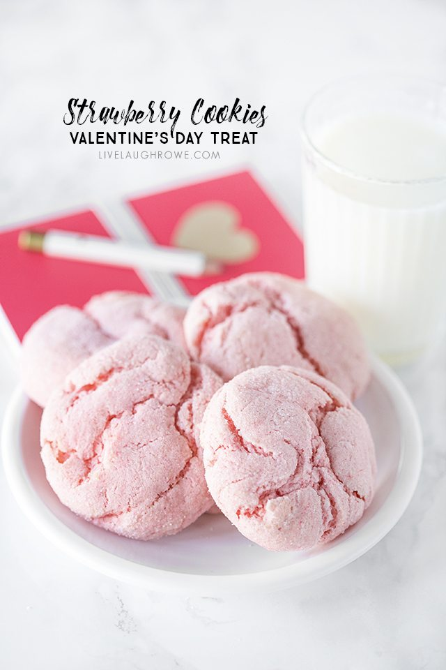 Delicious Strawberry Cookies -- that are great for Valentine's Day or a summer picnic. Keep this recipe in your back pocket, it's a real treat! livelaughrowe.com