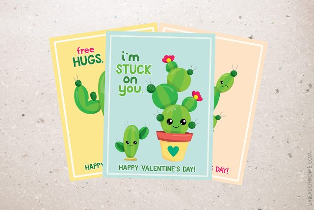 I M Stuck On You And Other Free Printable Cactus Valentines