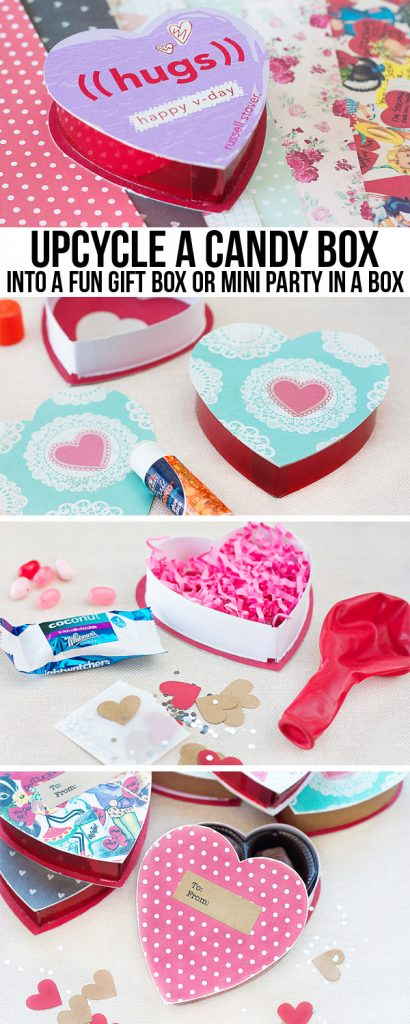 Sweet DIY Valentine Gift Box. Convert a chocolate box into a great gift box, party in a box or a love note! www.livelaughrowe.com