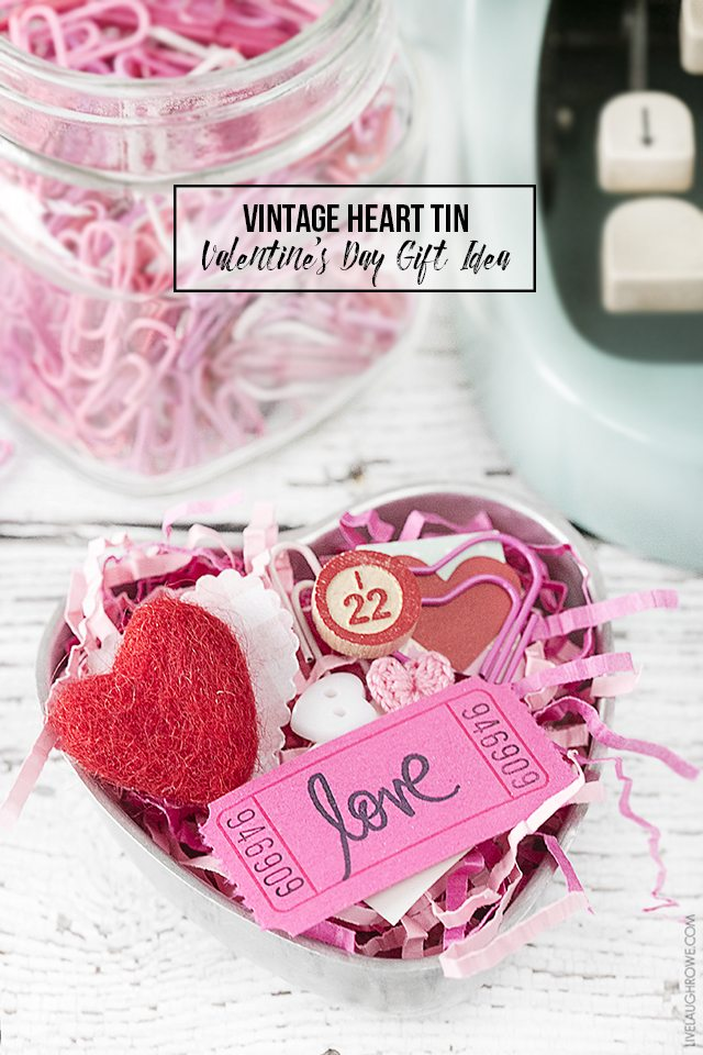 Sweet Vintage Heart Tin used to create a Valentine's Day gift using ephemera and other fun, festive pieces. livelaughrowe.com