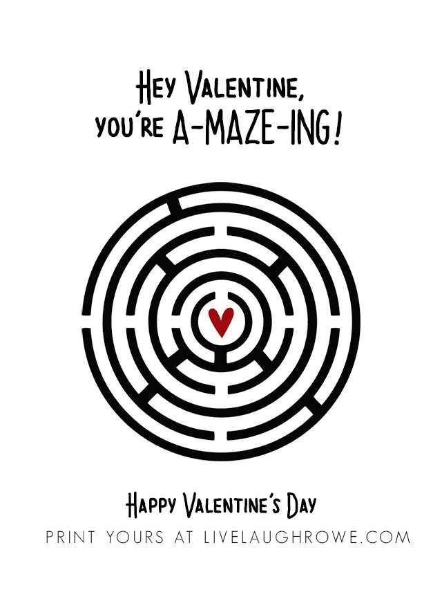 Fun Maze Printable Valentines TWO WAYS -- add toy maze or print valentine with maze! livelaughrowe.com