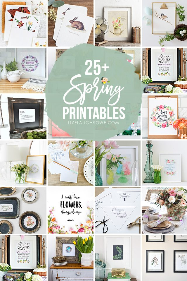 25+ FREE Spring Printables -- from wall decor to table cards, your options are unlimited. livelaughrowe.com