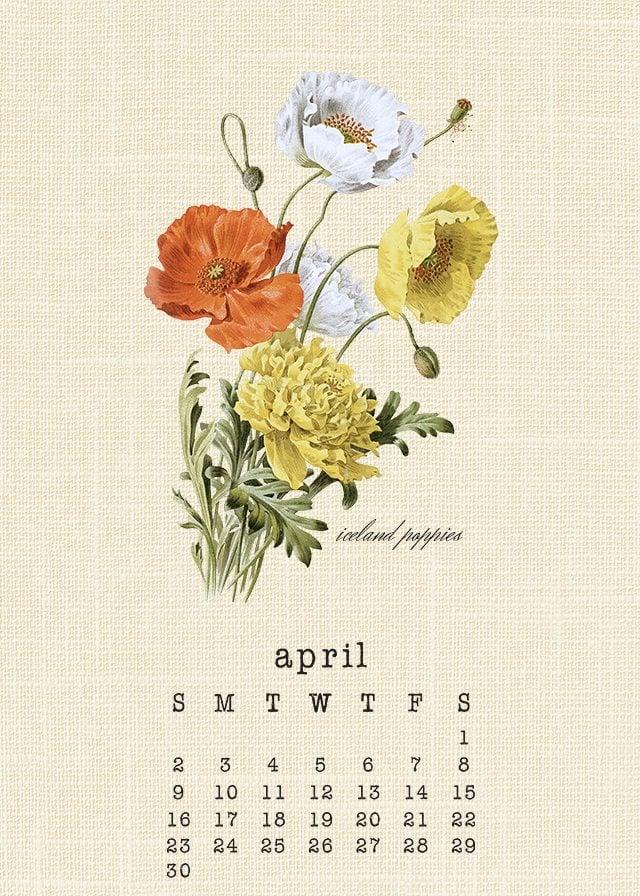 Beautiful Botanical April 2017 Calendar. Print yours at livelaughrowe.com