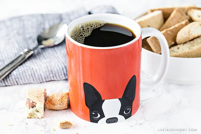 A cup of coffee is even better when enjoyed in a cute mug, right? livelaughrowe.com