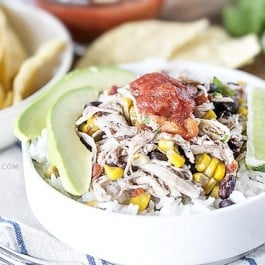 Your taste buds will thank you for this delicious goodness! Whip up this Chicken Burrito Bowl in your slow cooker and just add rice! livelaughrowe.com