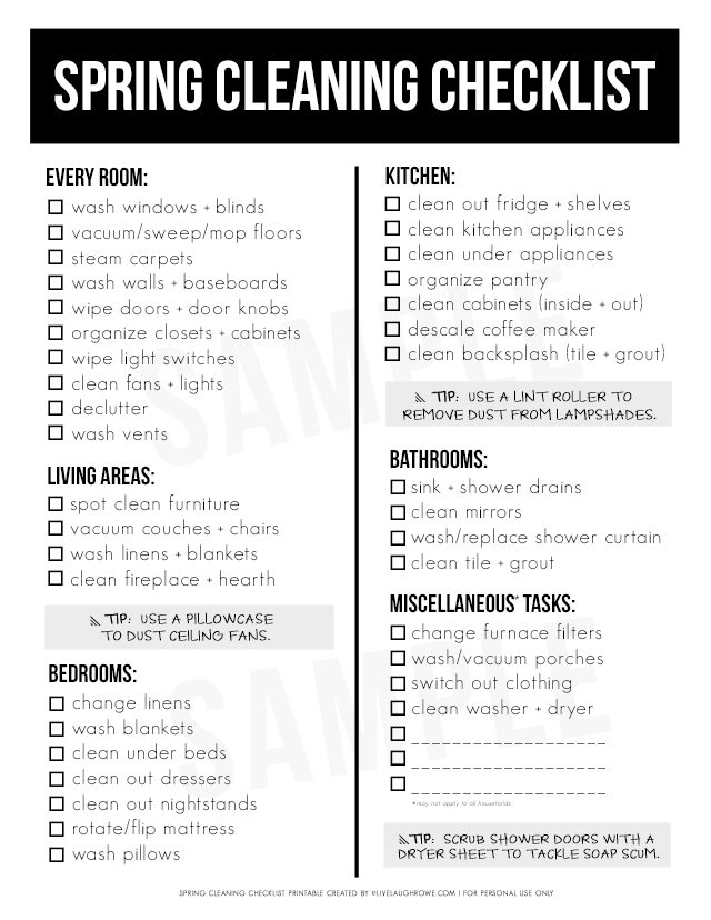 Spring Cleaning Checklist Spring Cleaning Checklist Ultimate