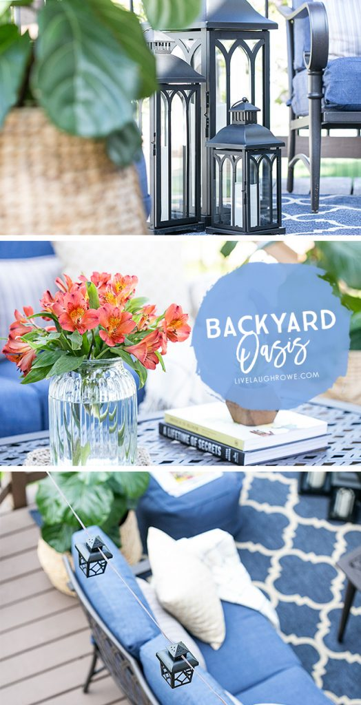 backyard oasis with shades of blue live laugh rowe