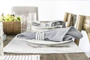 Loving these table linens -- blue ticking stripes? Swoon. livelaughrowe.com