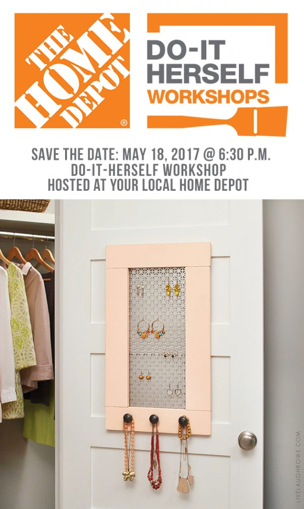 Sign up today for the May 2017 DIH Workshop at your local Home Depot to build this Jewelry Organizer. www.livelaughrowe.com #DIHWorkshop #ad