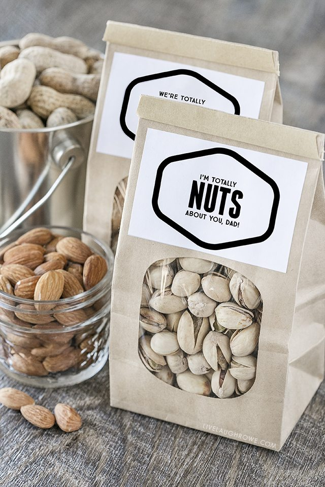 "Fun ""Nuts About You"" printables -- lots of options too! Find one for Father's Day, Valentine's Day or just because. Go NUTS! livelaughrowe.com"