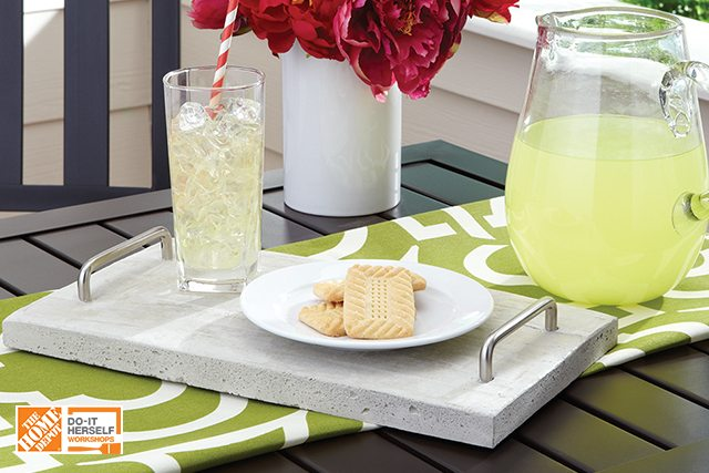 Sign up today for the June 2017 DIH Workshop at your local Home Depot to make this concrete tray www.livelaughrowe.com #DIHWorkshop #ad