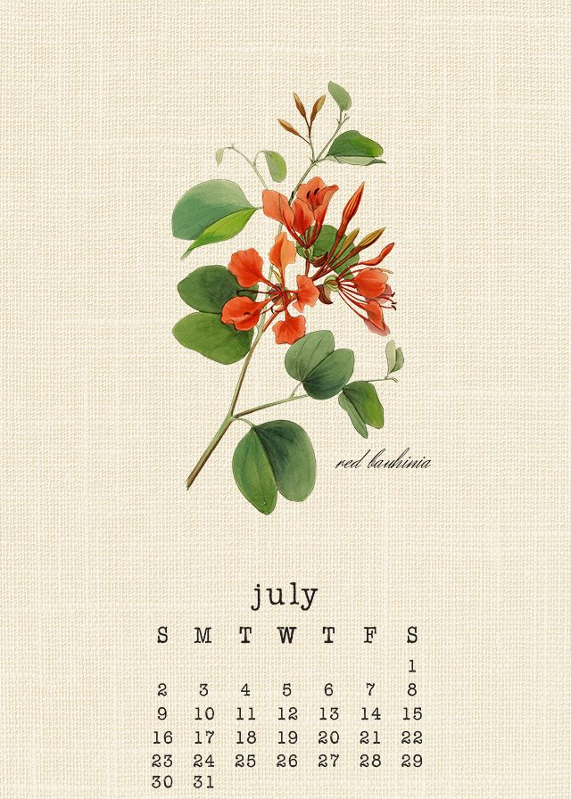 Beautiful July 2017 Botanical Calendar Print yours at livelaughrowe.com