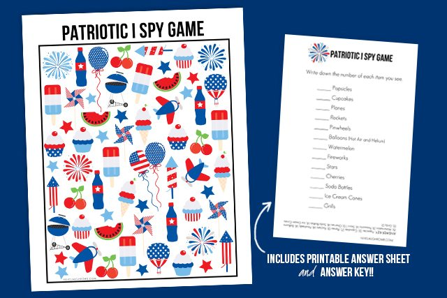 The perfect way to entertain the kids during your picnics! This Patriotic I Spy Printable comes with an answer sheet and answer key too! Print yours at livelaughrowe.com