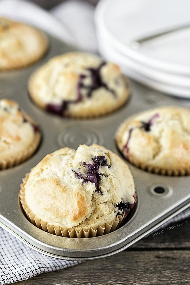 Delicious Blueberry Muffins that aren't too sweet -- a perfect treat to pair with a cup of coffee or tea. livelaughrowe.com
