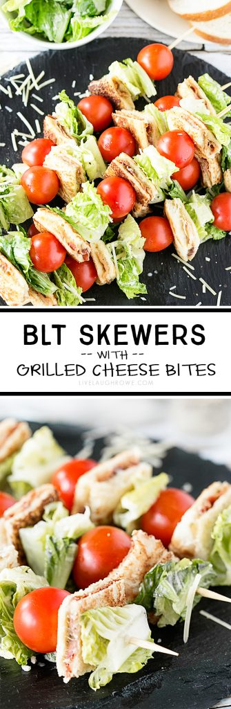 Amazing BLT Skewers with Grilled Cheese Bites. Flavorful, colorful and delicious is a winning combination. Recipe at livelaughrowe.com