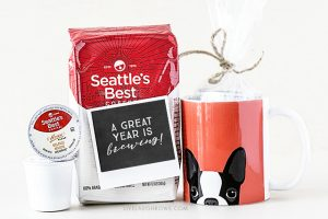 "Love this teacher gift idea from livelaughrowe.com! Give the gift of coffee (bag or k-cups) with this darling printable -- ""A great year is brewing!"""