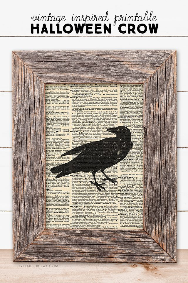 Add a simple halloween statement to your fall decor with this vintage inspired halloween crow printable. And free is always good! livelaughrowe.com