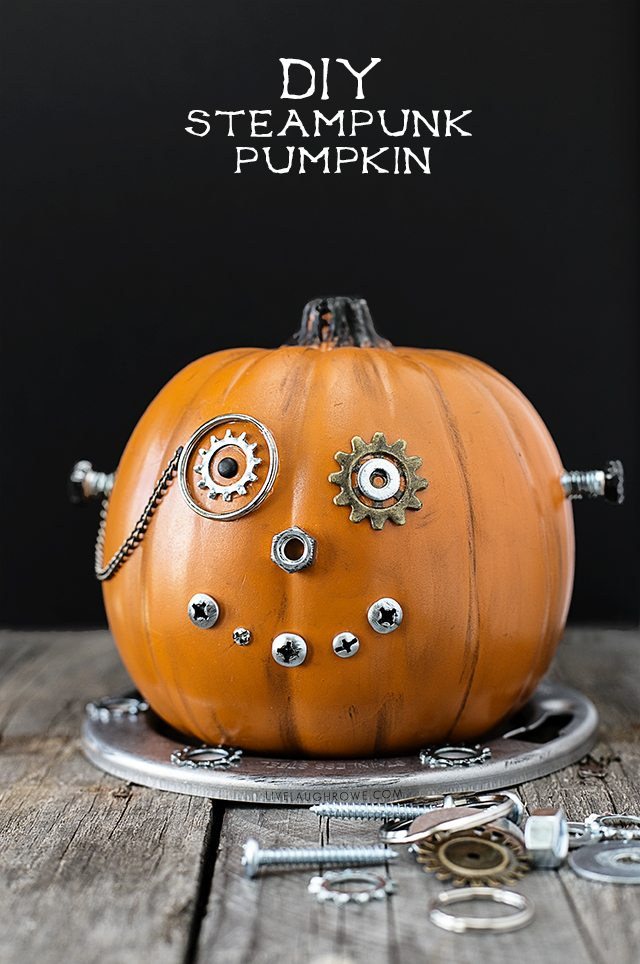 Easy DIY Steampunk Pumpkin, a fun and whimsical mechanical wonder. A unique Halloween pumpkin that's sure to be a conversation starter. A great kids craft too. www.livelaughrowe.com