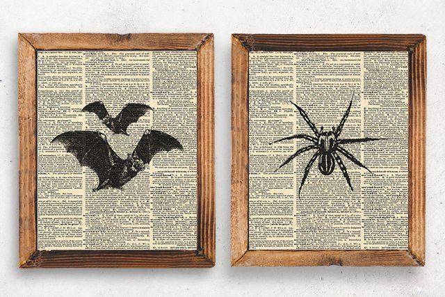 Bats and Spider Prints. Vintage Inspired Halloween Printables by livelaughrowe.com