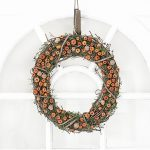Beautiful Autumn Wreath with Pumpkins and Acorns
