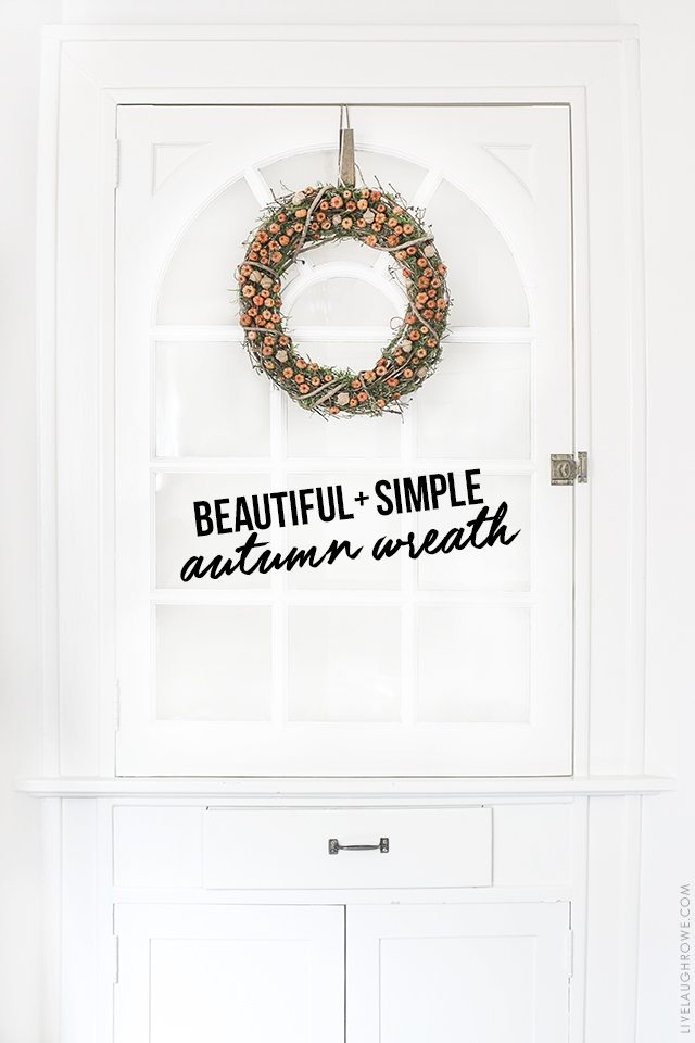 Beautiful Autumn Wreath that is inexpensive and easy to make! livelaughrowe.com