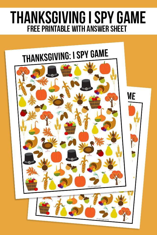 The perfect way to entertain the kids this Thanksgiving! This sweet Thanksgiving I Spy Printable comes with an answer sheet and answer key too! Print yours at livelaughrowe.com
