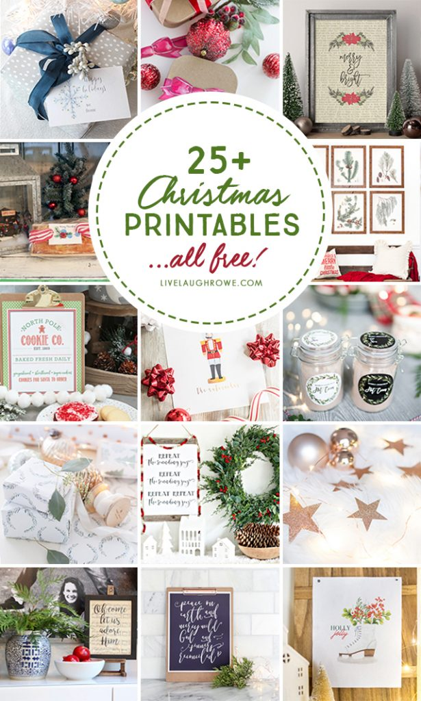 25+ Free and Fabulous Christmas Printables -- from gift tags to wrapping paper to wall prints! You're sure to find a few faves. livelaughrowe.com