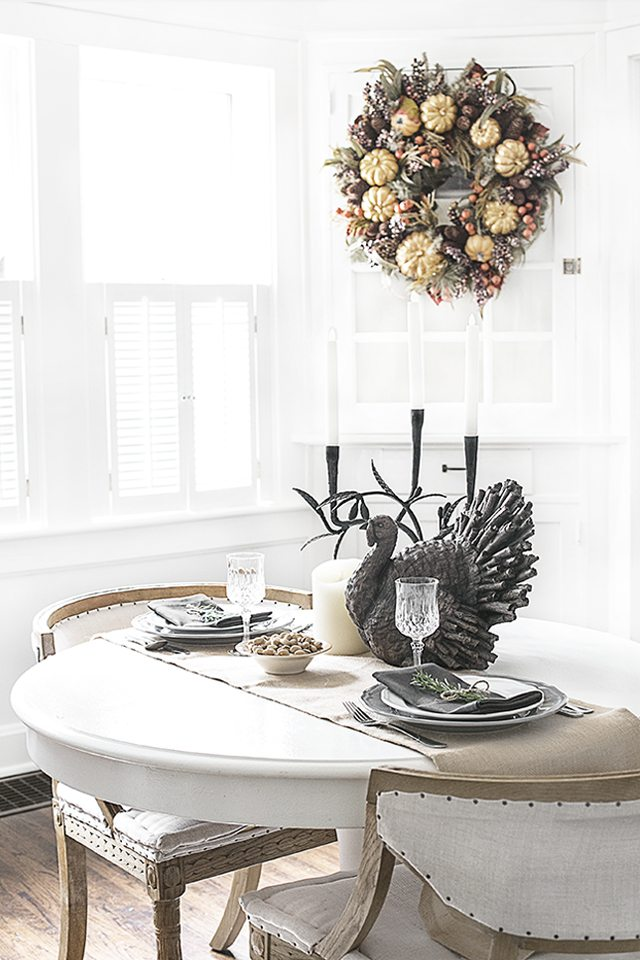 Simple, yet beautiful Thanksgiving Tablescape for two. This effortlessly inviting space is brought to you by Kelly of Live Laugh Rowe and Balsam Hill. Read more at livelaughrowe.com
