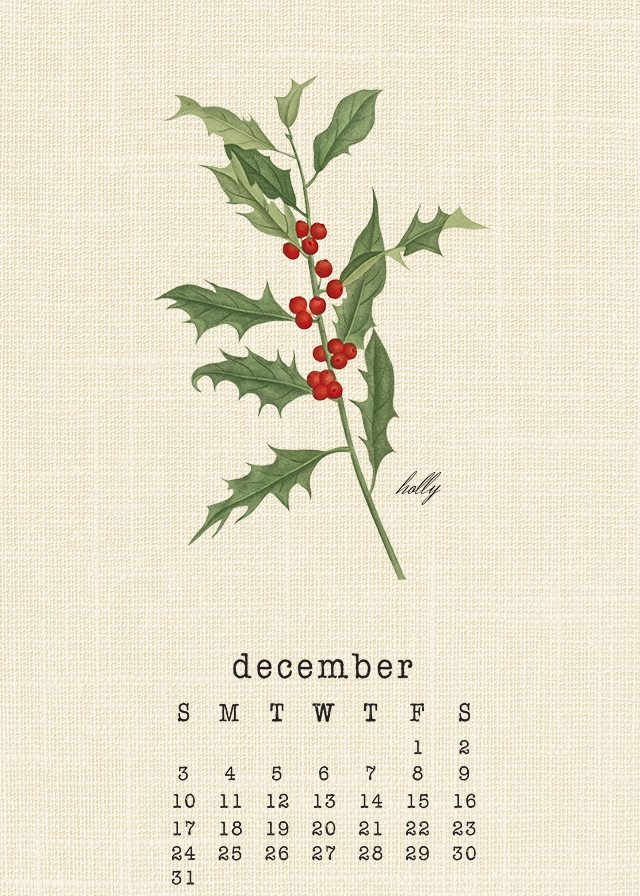 Beautiful Botanical December 2017 Calendar. livelaughrowe.com