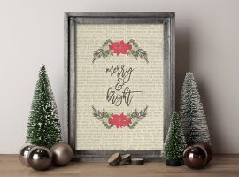 Vintage inspired Merry and Bright Christmas Printable. Adorn your wall with a print or gift to a friend! livelaughrowe.com