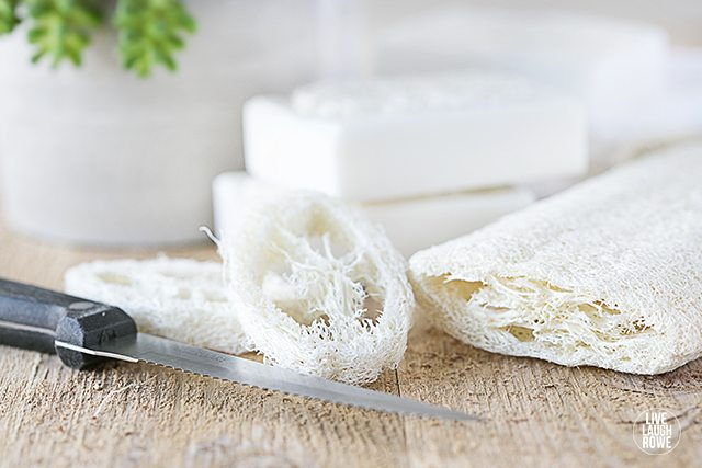 cutting loofah for loofah soap